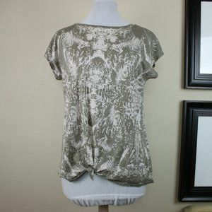 DKNY Jeans Short Sleeve Top Tie Up Green Leaves